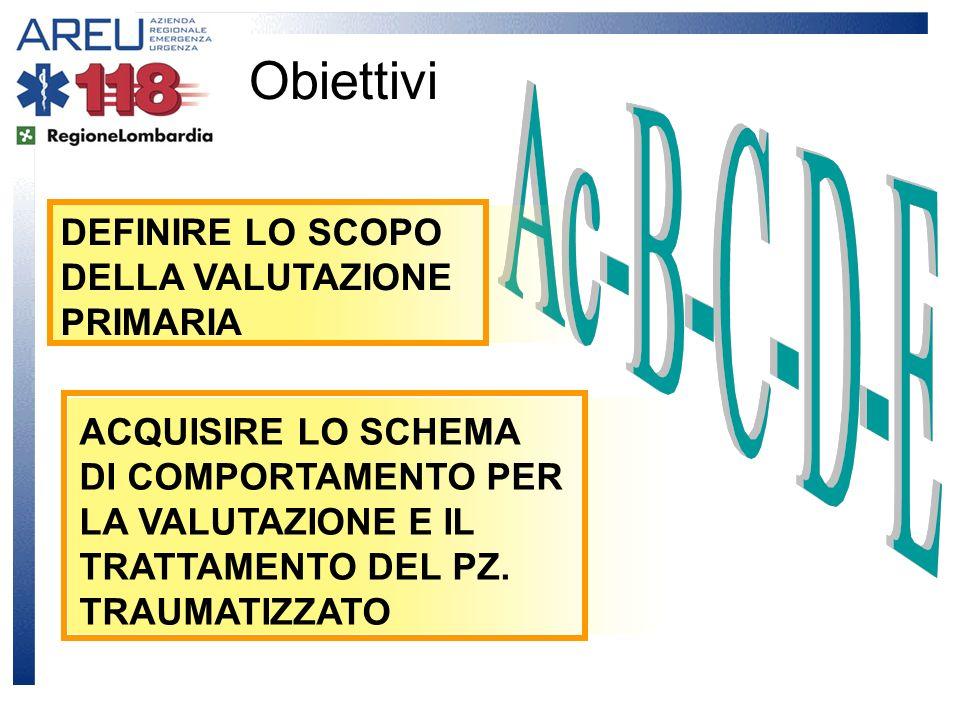 Obiettivi DEFINIRE LO SCOPO DELLA VALUTAZIONE PRIMARIA