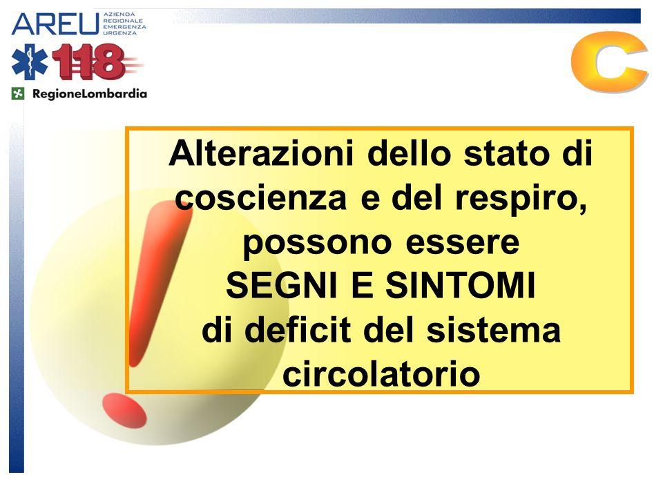 C Alterazioni dello stato di coscienza e del respiro, possono essere SEGNI E SINTOMI di deficit del sistema circolatorio.