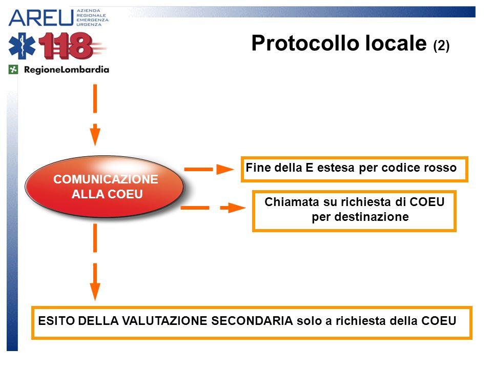 Protocollo locale (2) Fine della E estesa per codice rosso