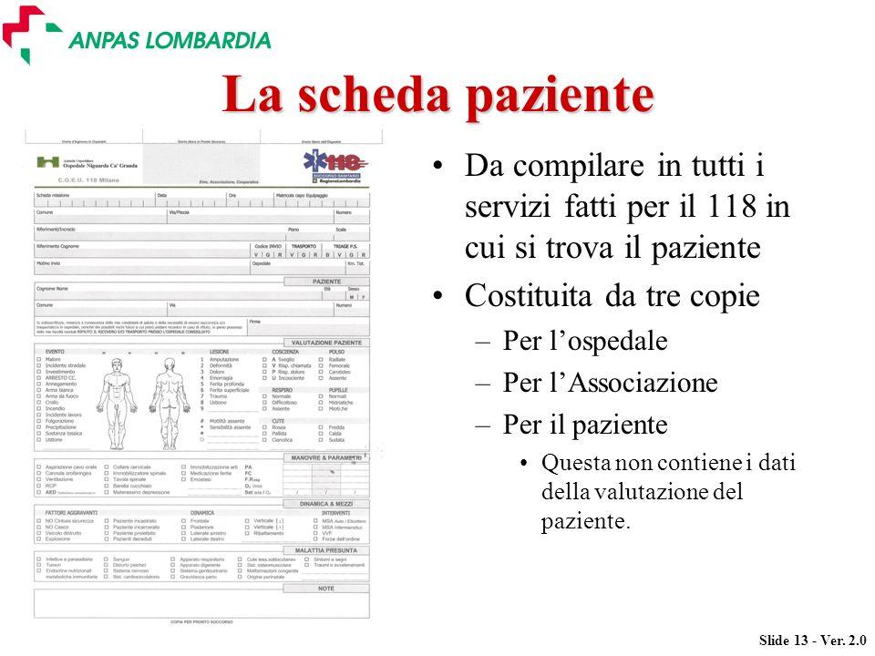 La scheda paziente Da compilare in tutti i servizi fatti per il 118 in cui si trova il paziente. Costituita da tre copie.