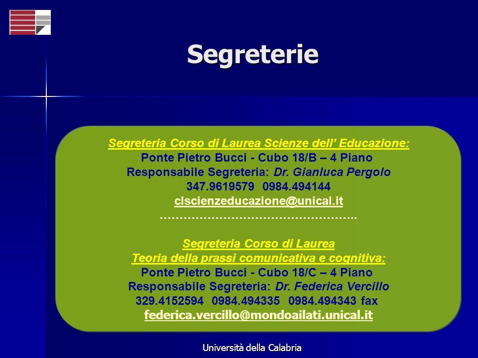 Segreterie Segreteria Corso di Laurea Scienze dell' Educazione: