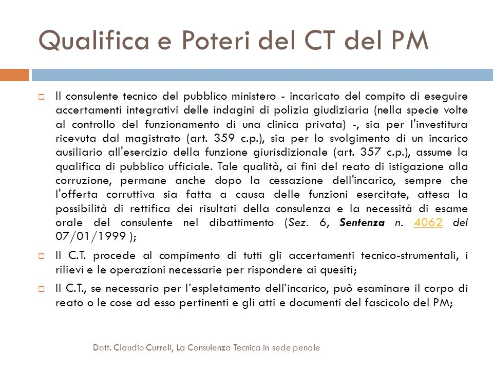 Qualifica e Poteri del CT del PM