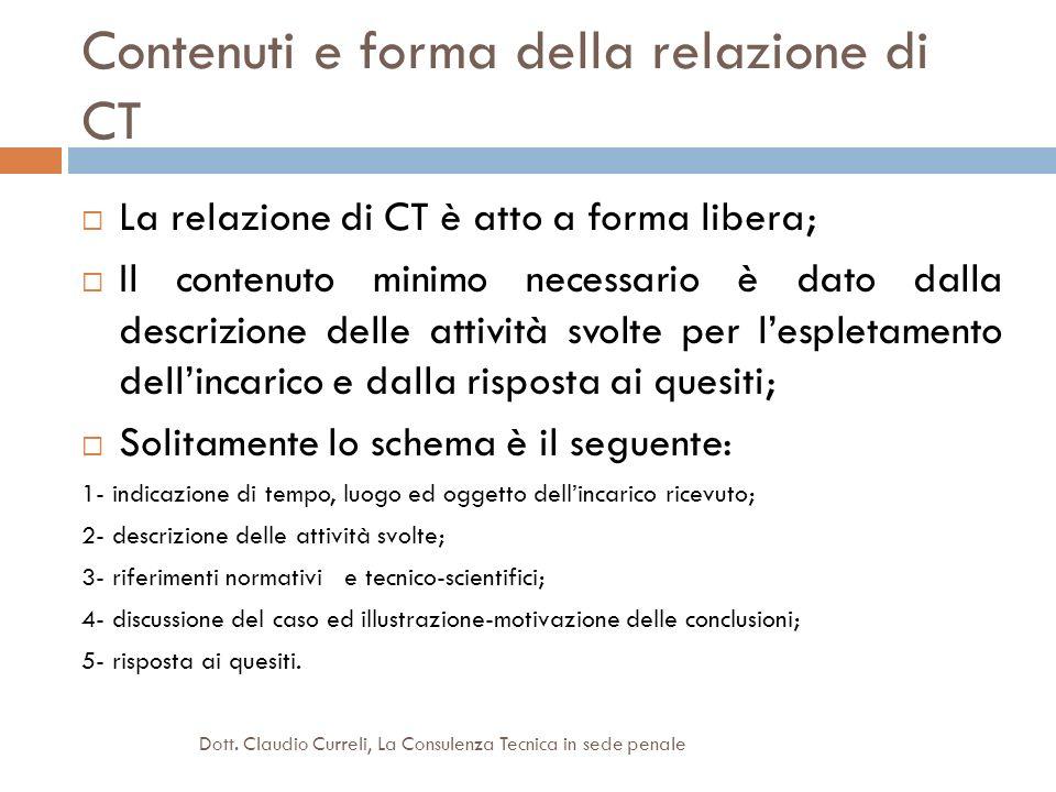 Contenuti e forma della relazione di CT