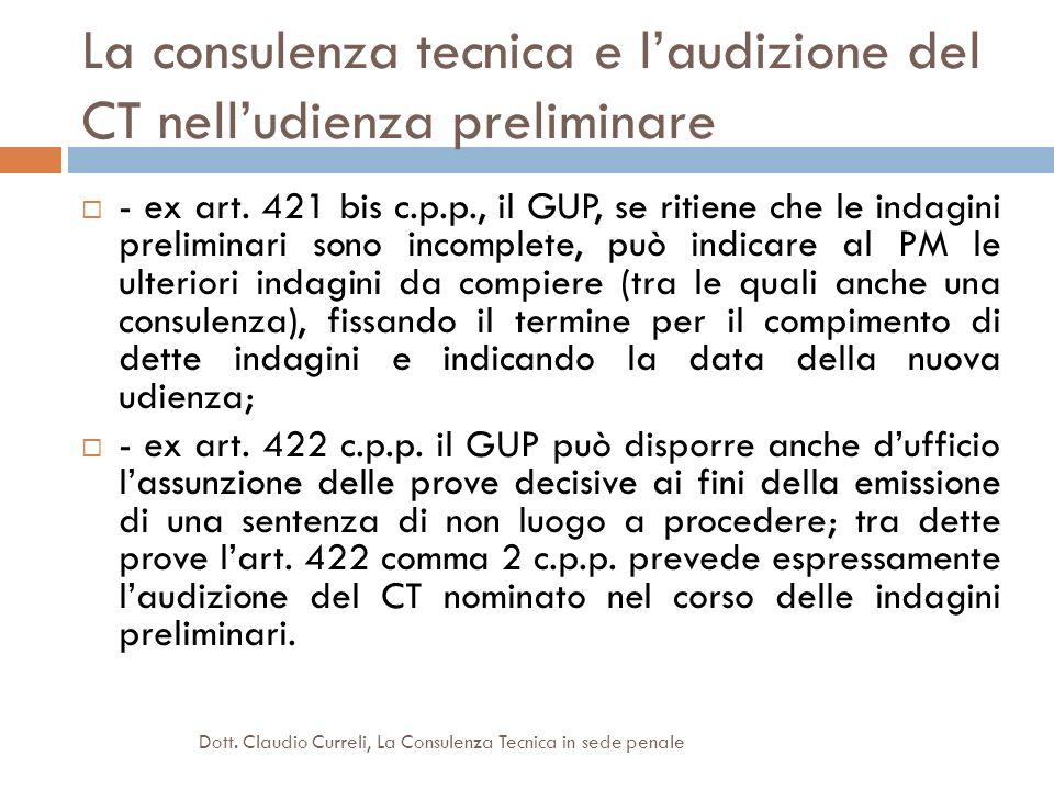 La consulenza tecnica e l'audizione del CT nell'udienza preliminare