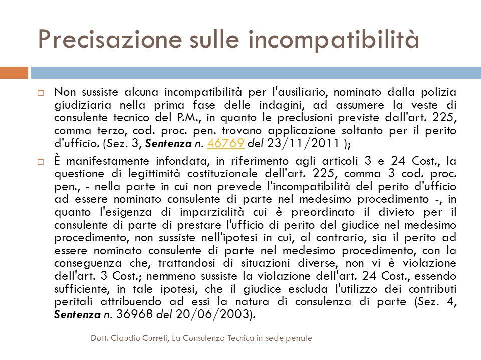 Precisazione sulle incompatibilità