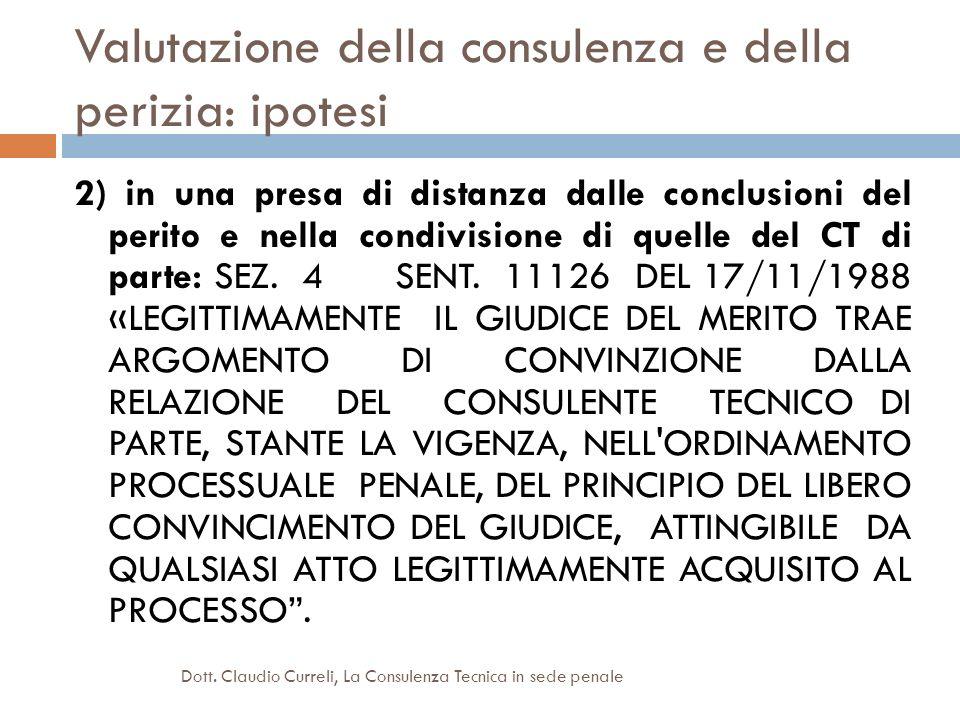 Valutazione della consulenza e della perizia: ipotesi