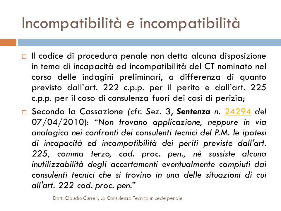 Incompatibilità e incompatibilità