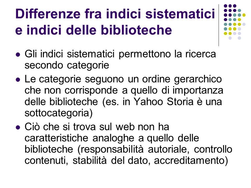 Differenze fra indici sistematici e indici delle biblioteche