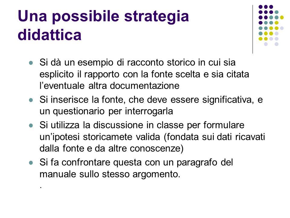 Una possibile strategia didattica