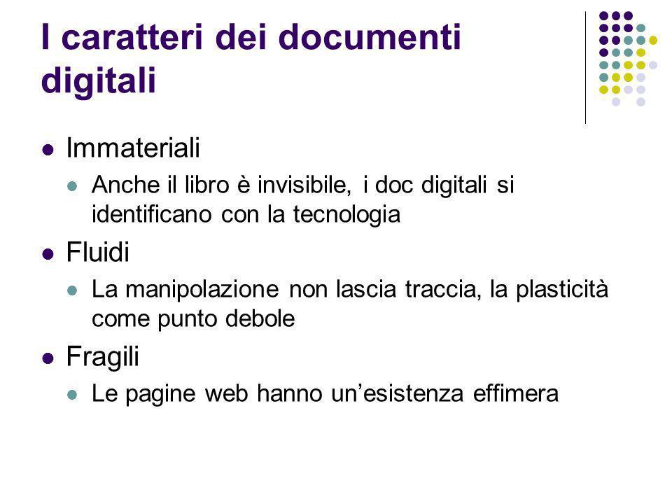 I caratteri dei documenti digitali