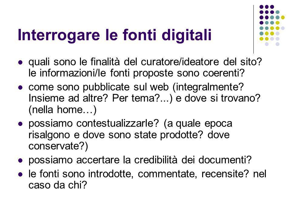 Interrogare le fonti digitali