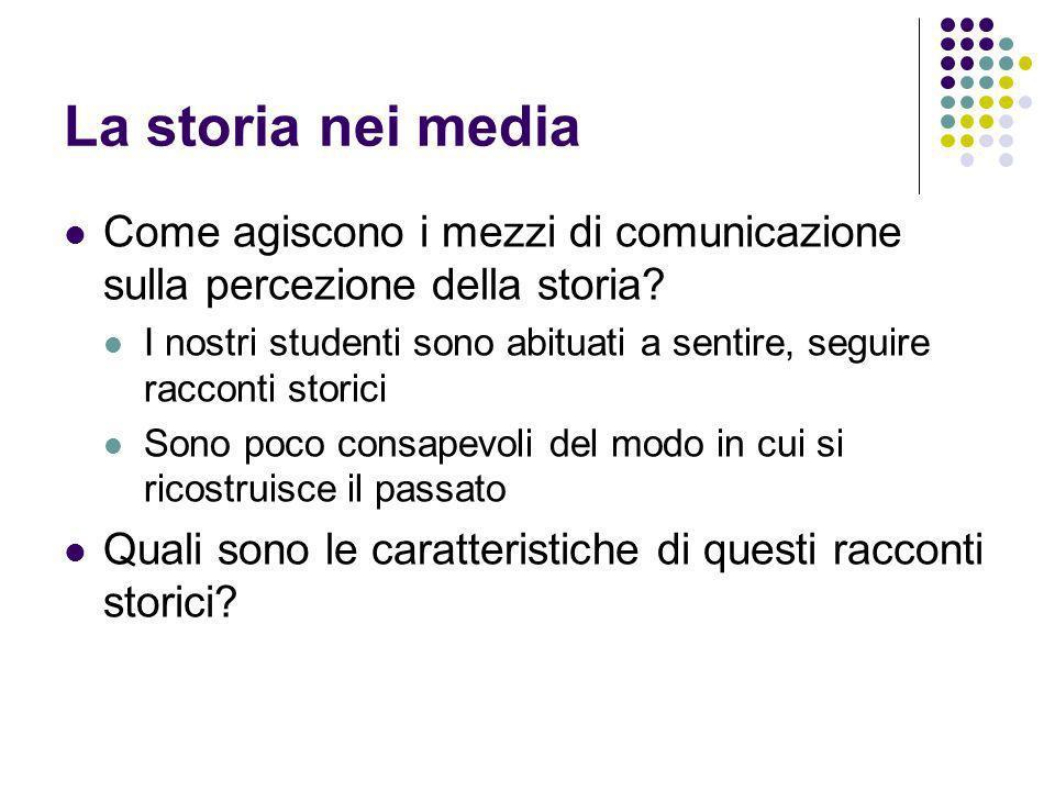 La storia nei media Come agiscono i mezzi di comunicazione sulla percezione della storia