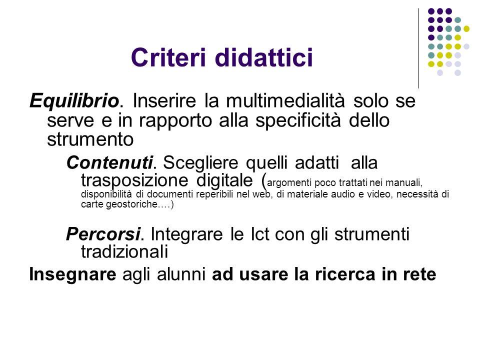 Criteri didattici Equilibrio. Inserire la multimedialità solo se serve e in rapporto alla specificità dello strumento.