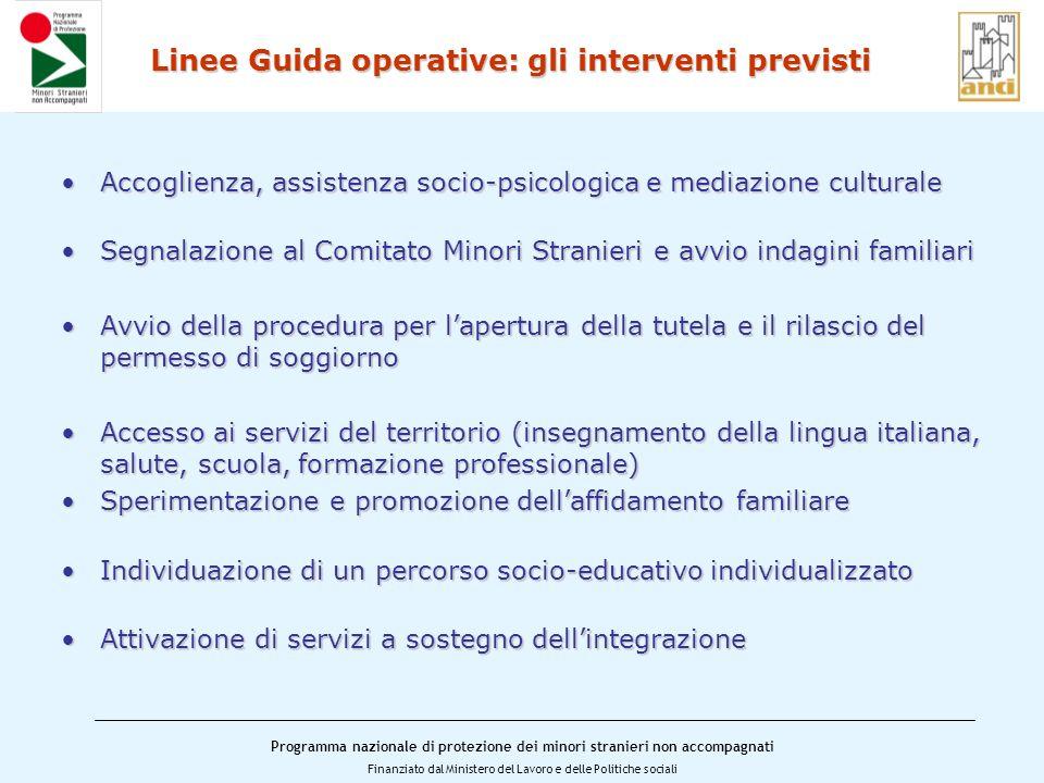 Linee Guida operative: gli interventi previsti