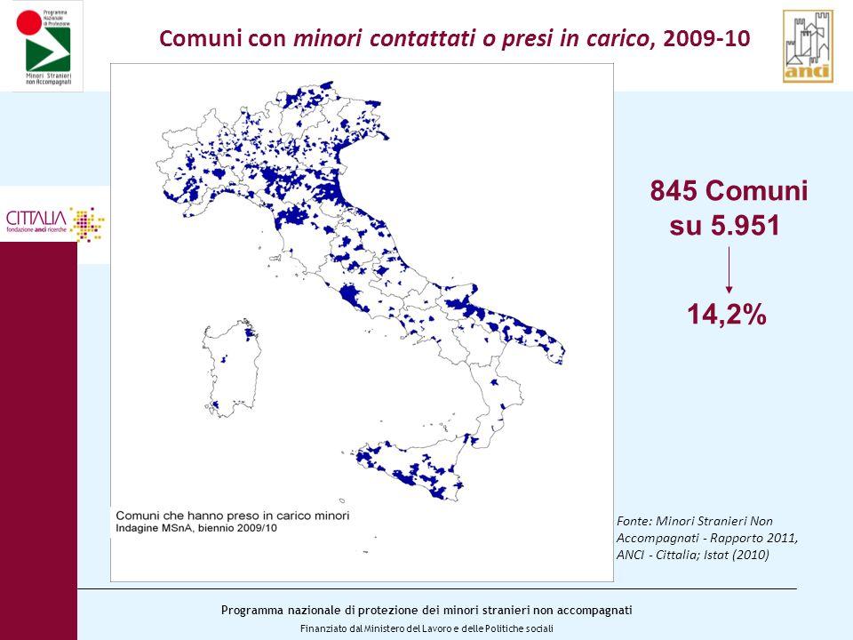 Comuni con minori contattati o presi in carico, 2009-10