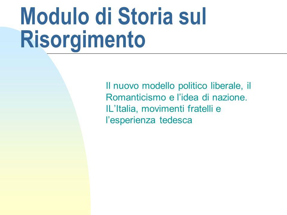 Modulo di Storia sul Risorgimento
