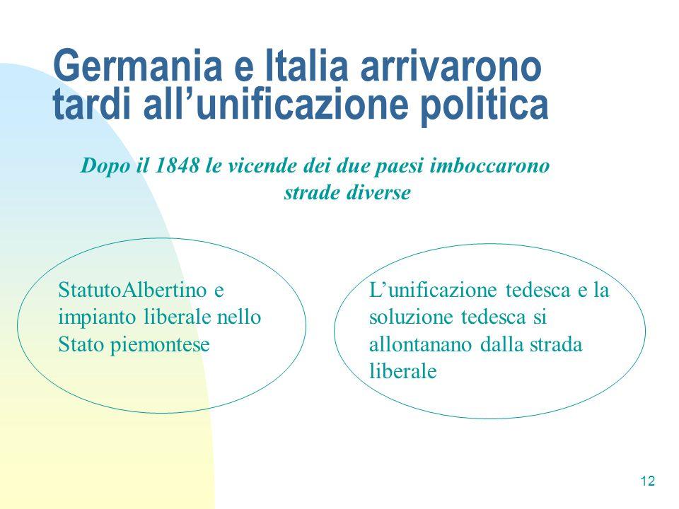 Germania e Italia arrivarono tardi all'unificazione politica