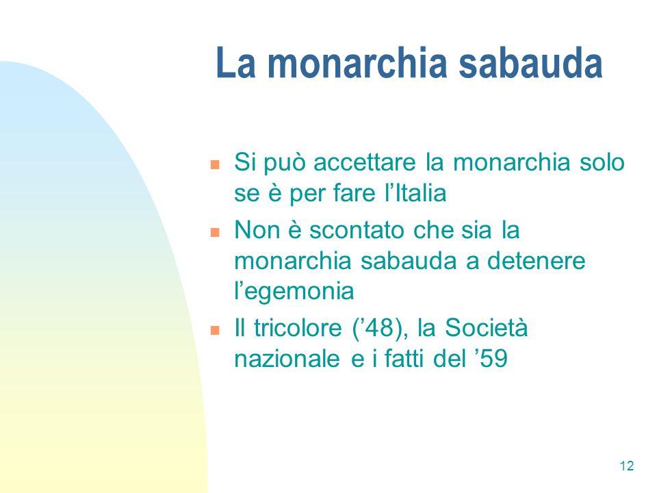La monarchia sabauda Si può accettare la monarchia solo se è per fare l'Italia. Non è scontato che sia la monarchia sabauda a detenere l'egemonia.