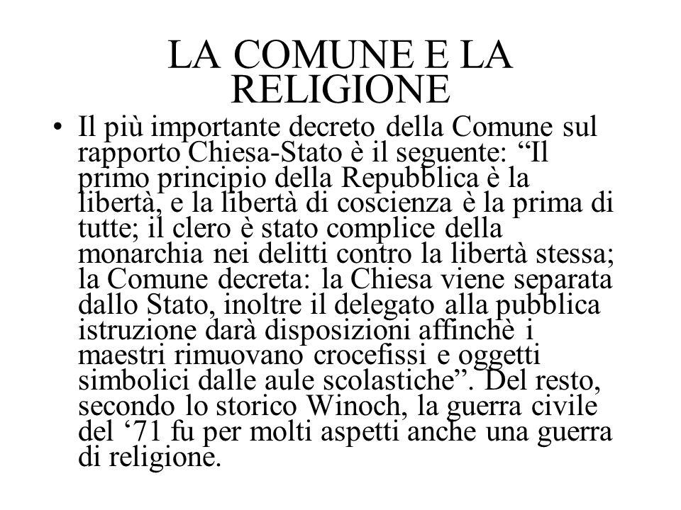 LA COMUNE E LA RELIGIONE