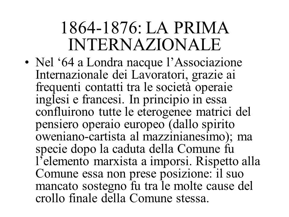 1864-1876: LA PRIMA INTERNAZIONALE