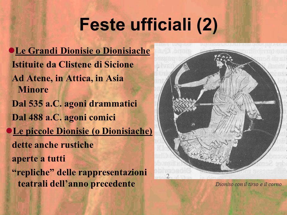 Le Grandi Dionisie o Dionisiache Le piccole Dionisie (o Dionisiache)