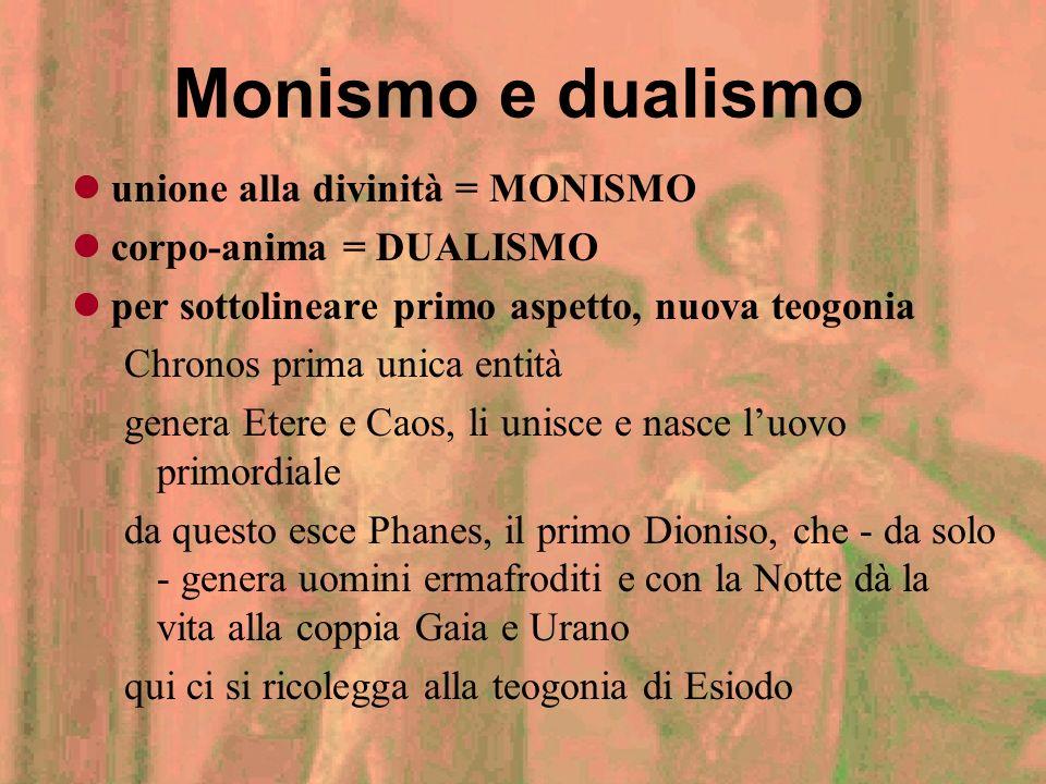 Monismo e dualismo unione alla divinità = MONISMO