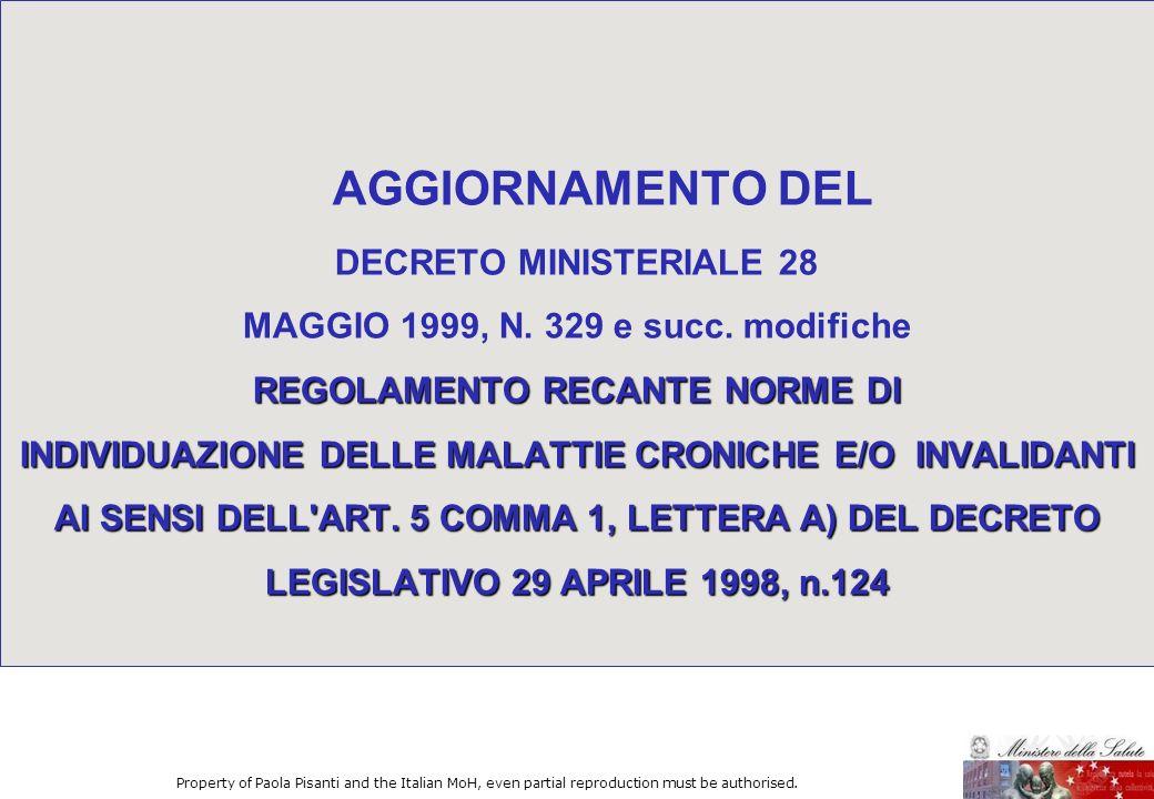 AGGIORNAMENTO DEL DECRETO MINISTERIALE 28 MAGGIO 1999, N. 329 e succ