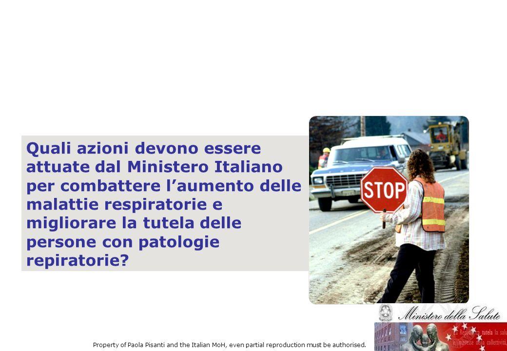 Quali azioni devono essere attuate dal Ministero Italiano per combattere l'aumento delle malattie respiratorie e migliorare la tutela delle persone con patologie repiratorie