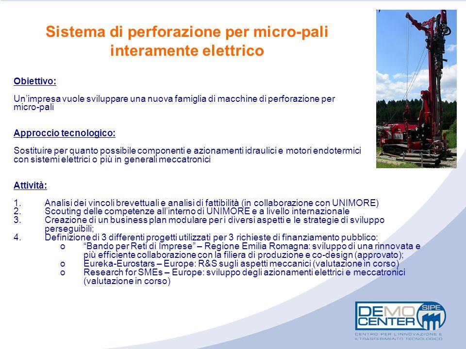 Sistema di perforazione per micro-pali interamente elettrico
