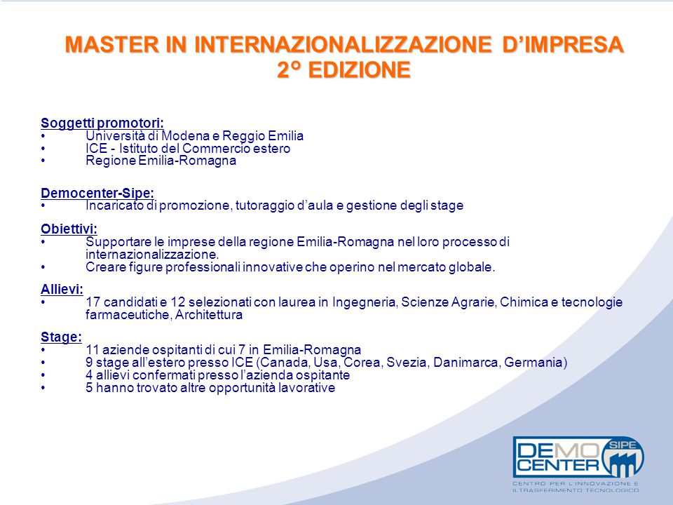 MASTER IN INTERNAZIONALIZZAZIONE D'IMPRESA 2° EDIZIONE