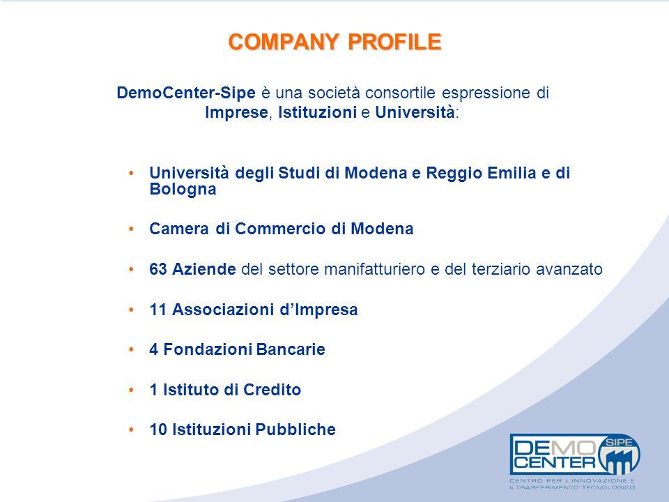 COMPANY PROFILE DemoCenter-Sipe è una società consortile espressione di. Imprese, Istituzioni e Università: