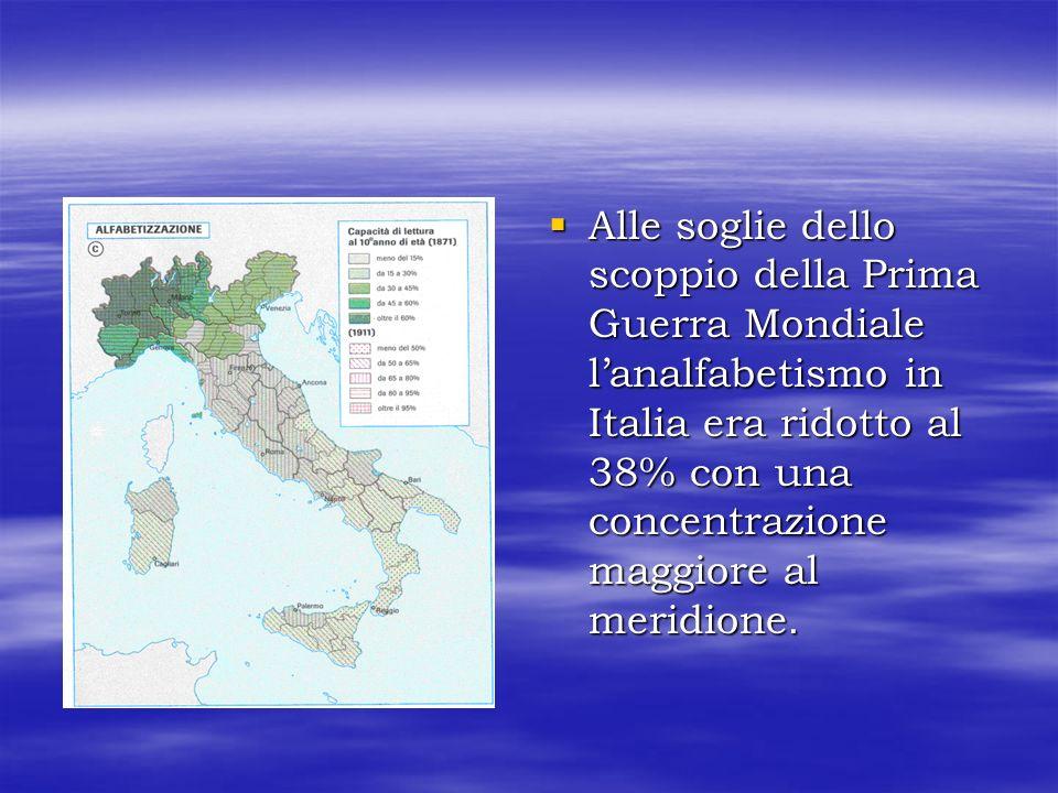 Alle soglie dello scoppio della Prima Guerra Mondiale l'analfabetismo in Italia era ridotto al 38% con una concentrazione maggiore al meridione.
