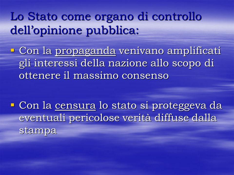 Lo Stato come organo di controllo dell'opinione pubblica: