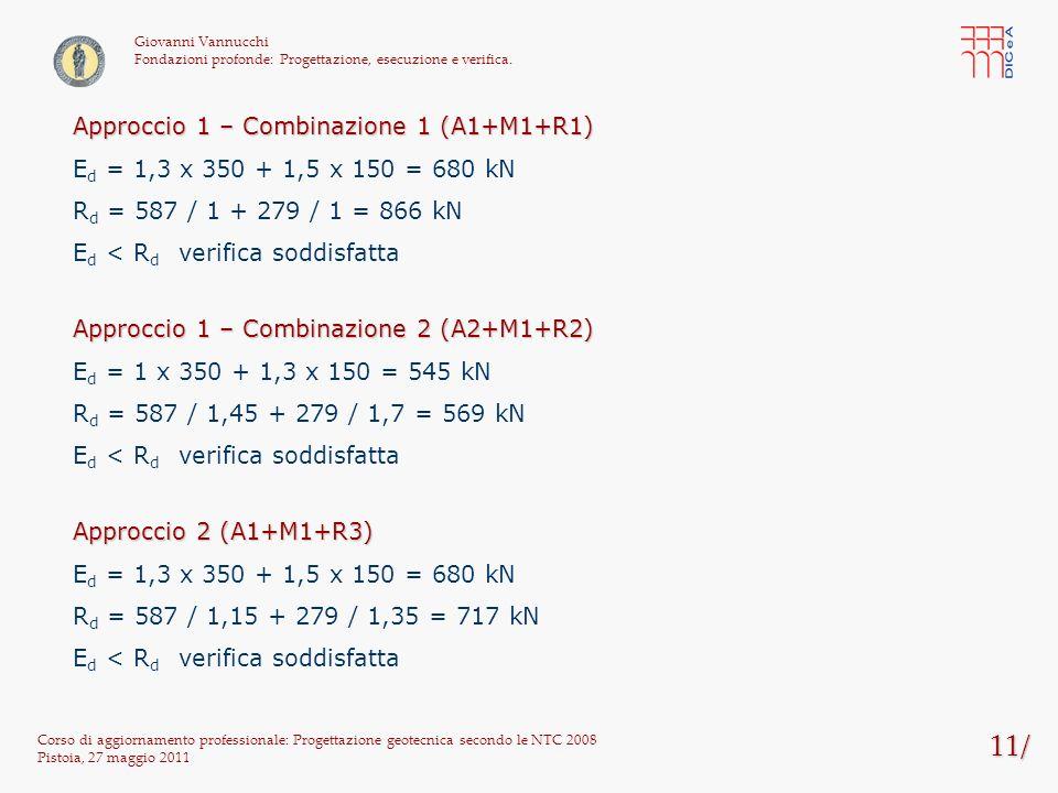 11/ Approccio 1 – Combinazione 1 (A1+M1+R1)