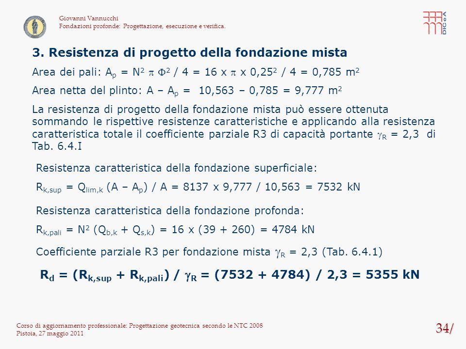 34/ 3. Resistenza di progetto della fondazione mista
