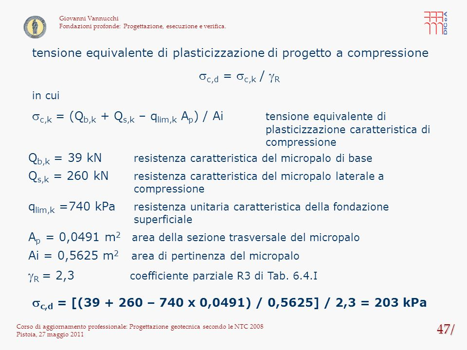 gR = 2,3 coefficiente parziale R3 di Tab. 6.4.I