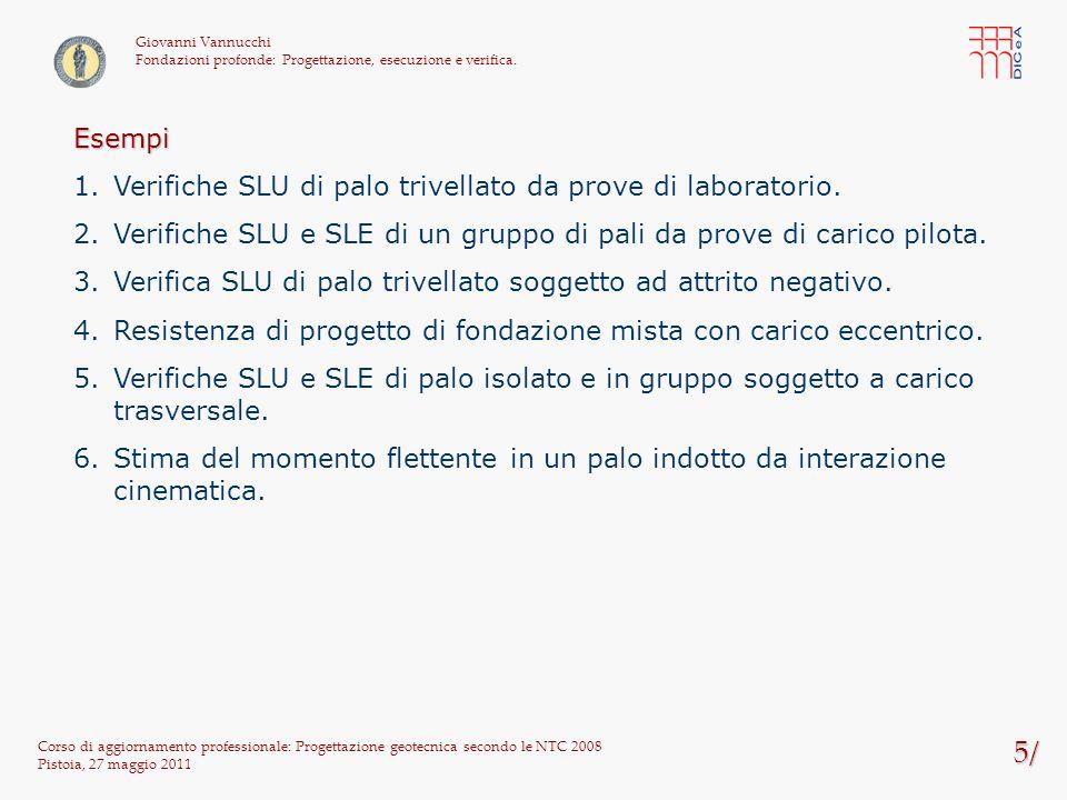 5/ Esempi Verifiche SLU di palo trivellato da prove di laboratorio.