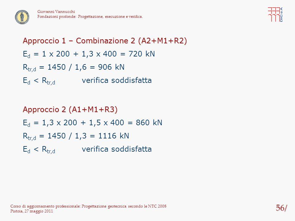 56/ Approccio 1 – Combinazione 2 (A2+M1+R2)