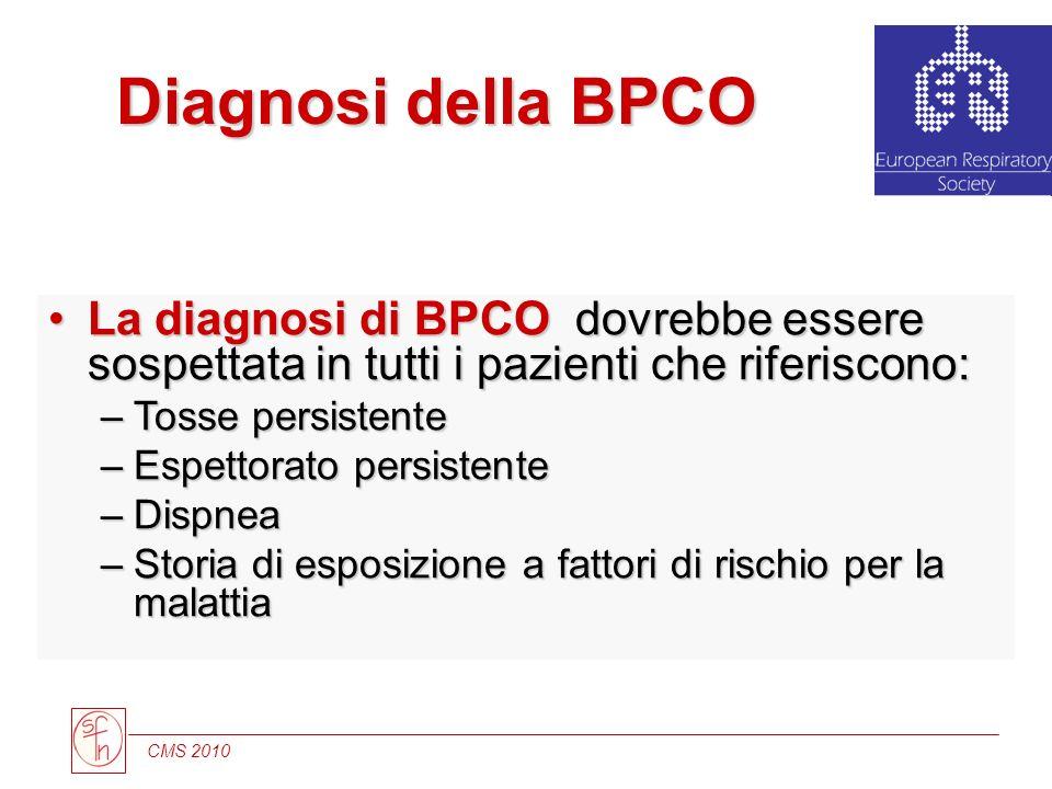 Diagnosi della BPCO La diagnosi di BPCO dovrebbe essere sospettata in tutti i pazienti che riferiscono: