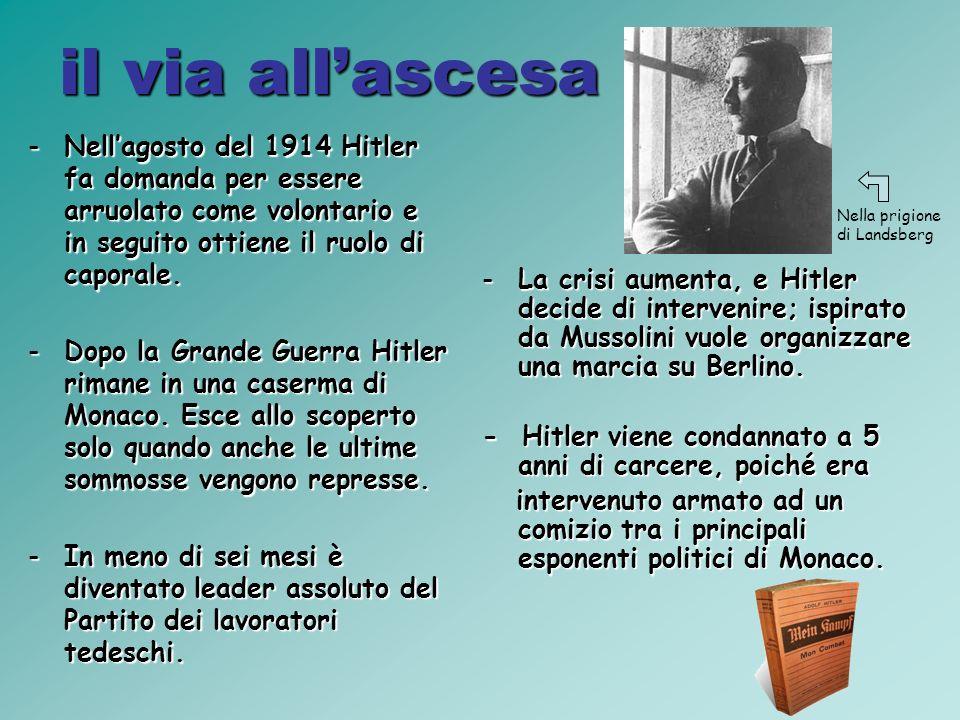 il via all'ascesa Nell'agosto del 1914 Hitler fa domanda per essere arruolato come volontario e in seguito ottiene il ruolo di caporale.