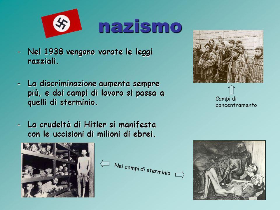 nazismo Nel 1938 vengono varate le leggi razziali.