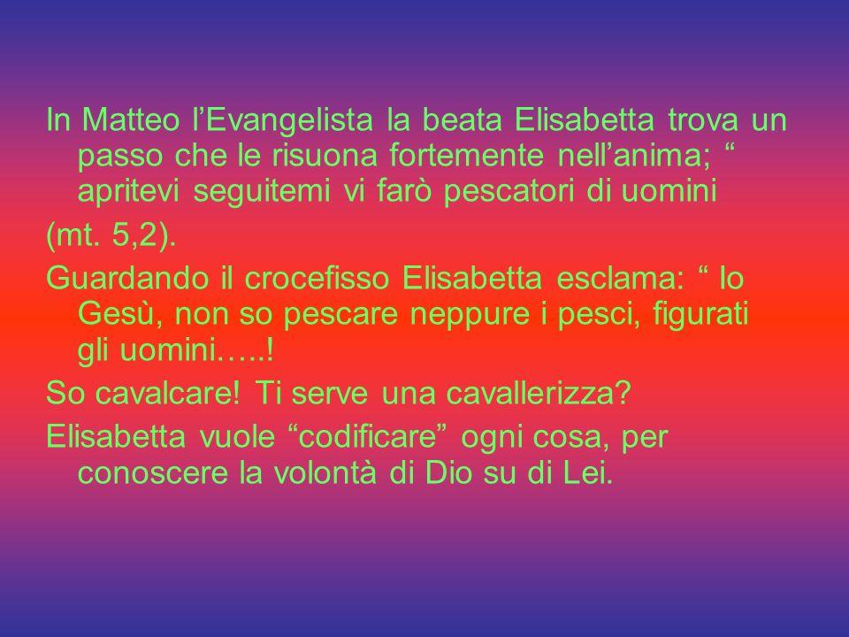 In Matteo l'Evangelista la beata Elisabetta trova un passo che le risuona fortemente nell'anima; apritevi seguitemi vi farò pescatori di uomini