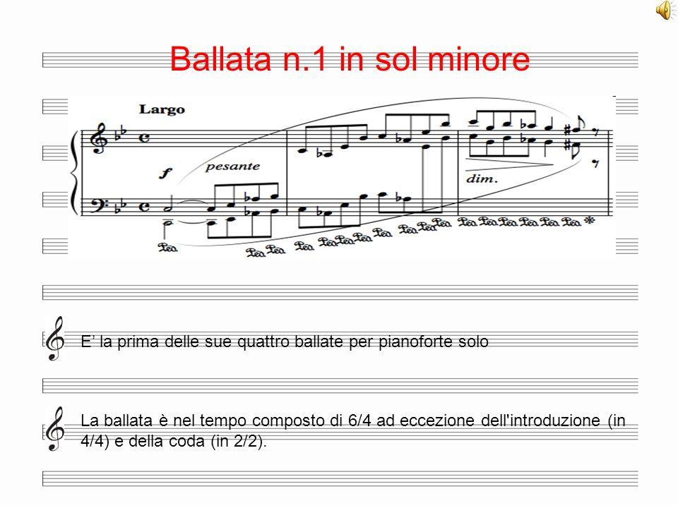 Ballata n.1 in sol minore E' la prima delle sue quattro ballate per pianoforte solo.