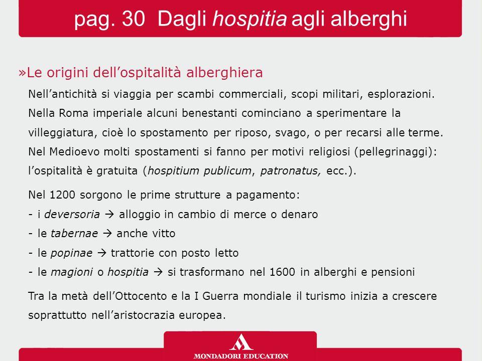 pag. 30 Dagli hospitia agli alberghi