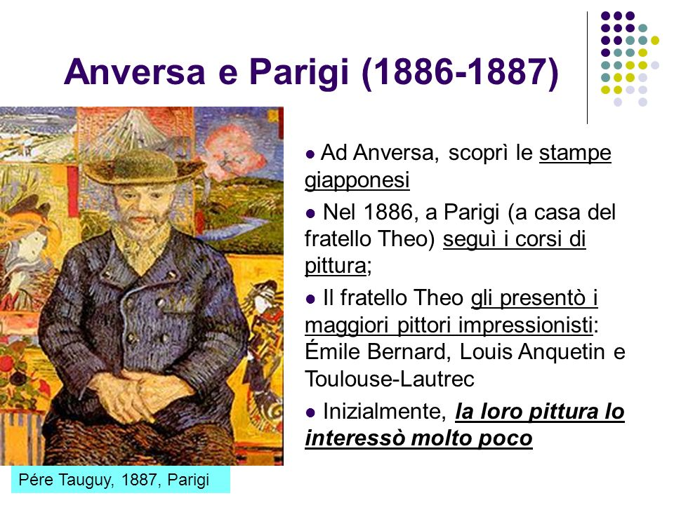 Anversa e Parigi (1886-1887) Ad Anversa, scoprì le stampe giapponesi. Nel 1886, a Parigi (a casa del fratello Theo) seguì i corsi di pittura;