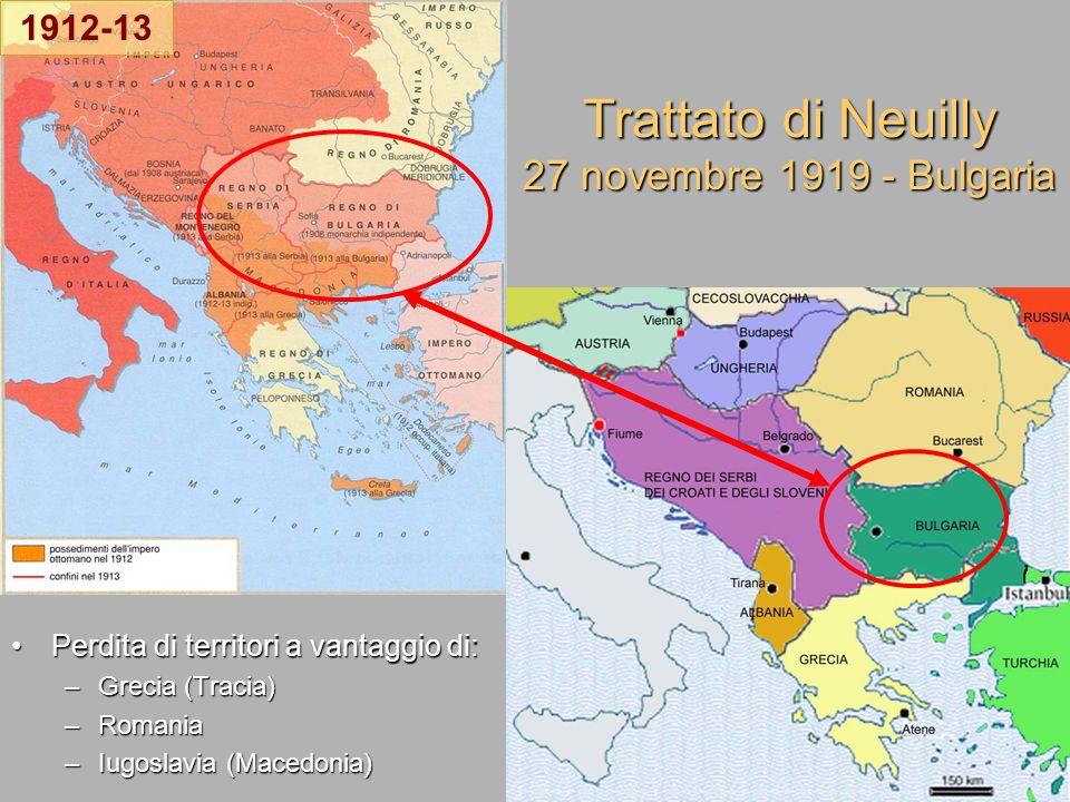 Trattato di Neuilly 27 novembre 1919 - Bulgaria