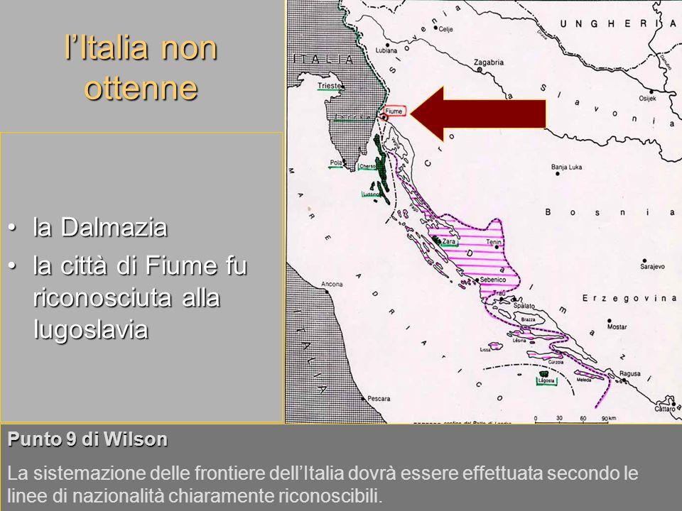 l'Italia non ottenne la Dalmazia