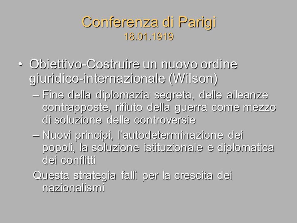 Conferenza di Parigi 18.01.1919 Obiettivo-Costruire un nuovo ordine giuridico-internazionale (Wilson)