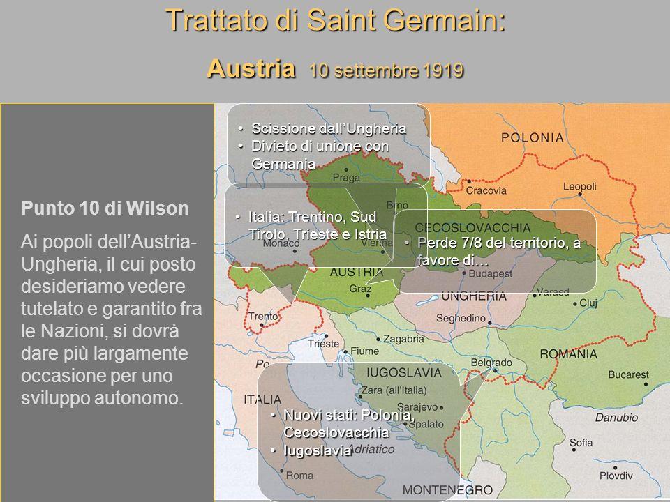 Trattato di Saint Germain: Austria 10 settembre 1919
