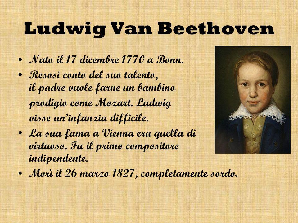 Ludwig Van Beethoven Nato il 17 dicembre 1770 a Bonn.